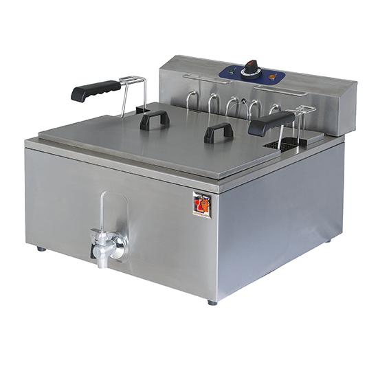 Elektro-Fritteuse für Konditorei mit Ablasshahn, Tischmodell, 25 Liter