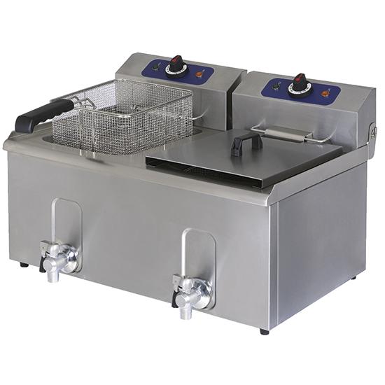 Elektro-Fritteuse mit Ablasshahn, Tischmodell, Ölfassungsvermögen 8+8 Liter