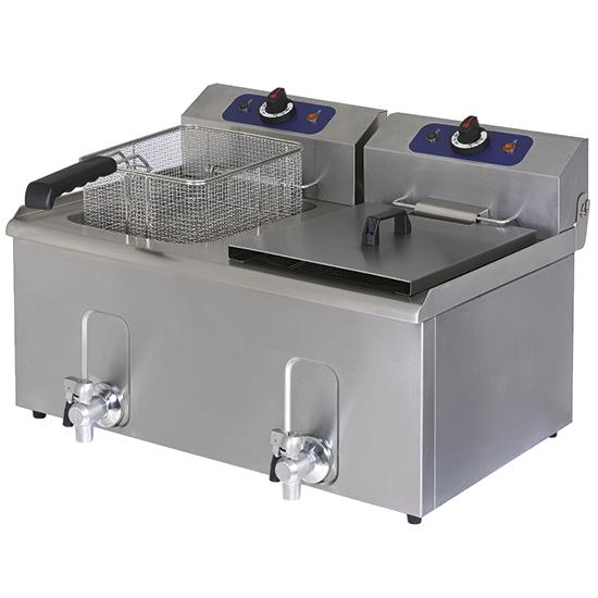 Elektro-Fritteuse mit Ablasshahn, Tischmodell, Ölfassungsvermögen 10+10 Liter