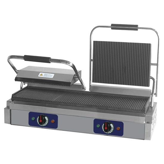 grill de contacto con placas ranuradas en hierro fundido, placa inferior 475x230 mm