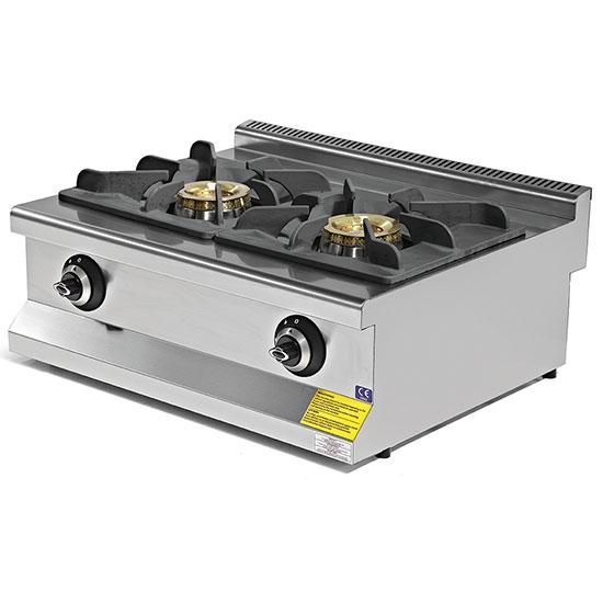 Plano de cocción a gas con 2 quemadores cada 8,65 KW
