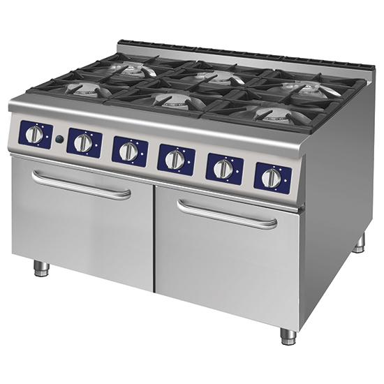 Cocina a gas com 6 quemadores sobre armario con puertas