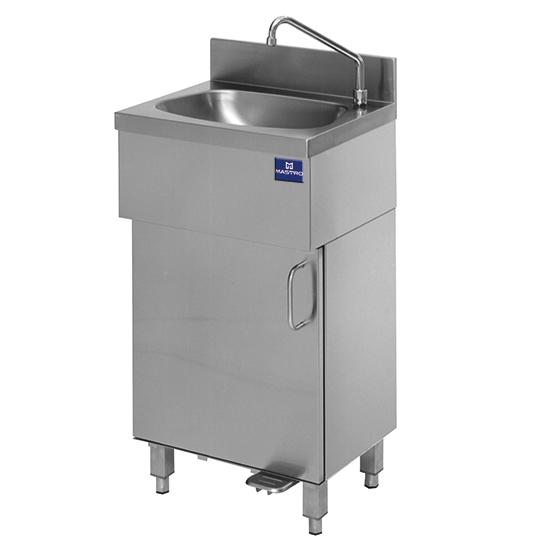 Handwaschbecken auf geschlossenem Unterbau mit Fußbedienung
