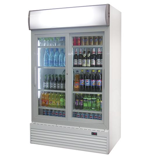 Getränkekühlvitrine mit 2 Glastüren, 1000 Liter, 0°/+10°C