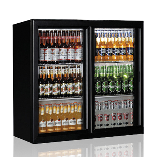 Barkühlschrank mit 2 Glasflügeltüren, 200 Liter, +1°/+10°C