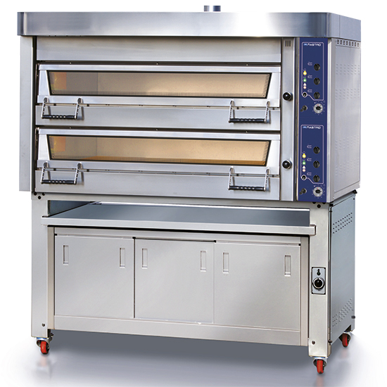 Horno de pastelería sin vapor eléctrico 2+2x 60x40 cm h=18 cm con prover y campana, control mecánico