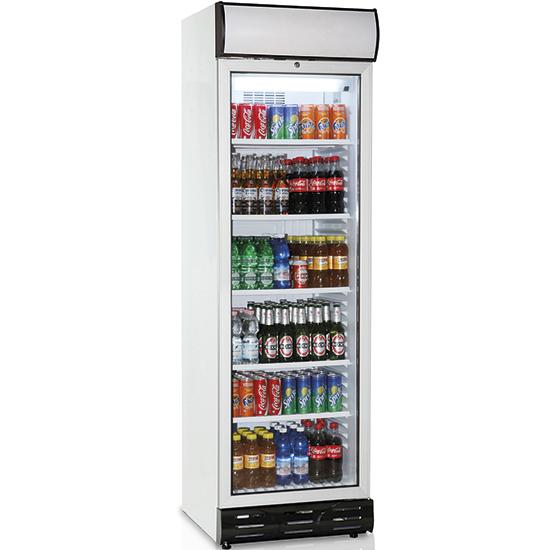 Vitrina refrigerada vertical 379 litros con puerta en vidrio y panel publicitario, +1°/+10°C