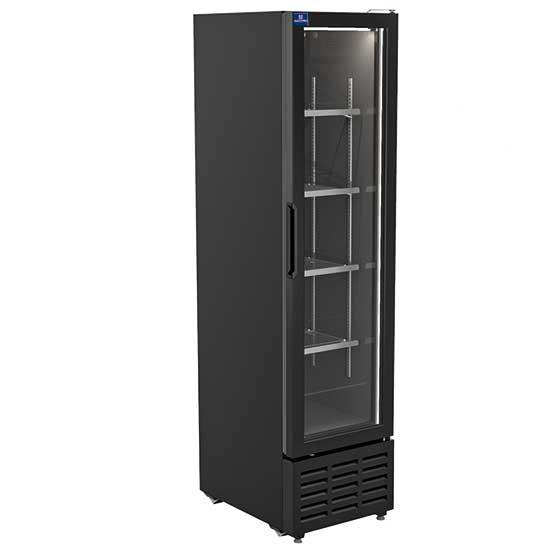 Getränkekühlvitrine 268 Liter mit Glastür und 4 Roste, +1°/+10°C - Farbe schwarz