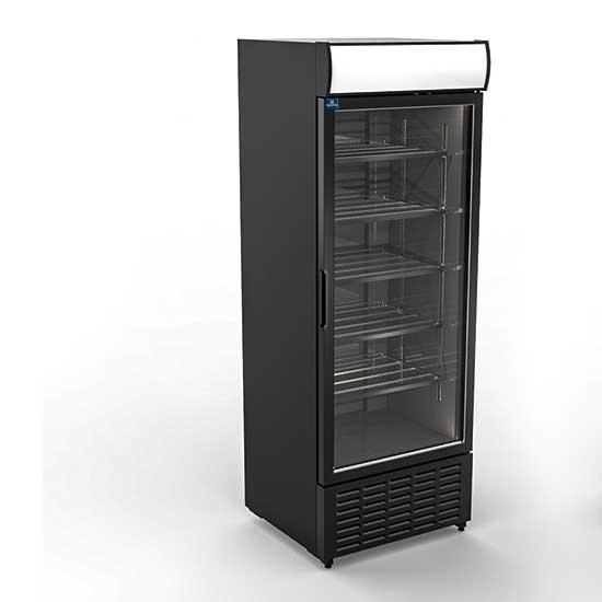 Getränkekühlvitrine 707 Liter mit Glastür und Werbedisplay, 5 Roste, +1°/+10°C - Farbe schwarz