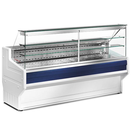 Kühltheke 2000 mm mit gerader Frontverglasung, statische Kühlung, +4°/+6°C