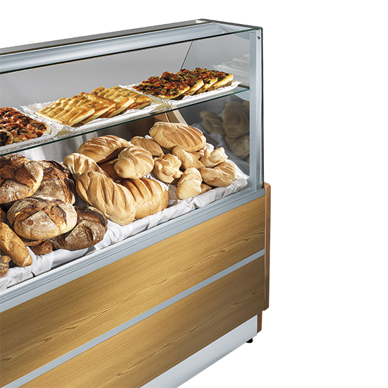 comptoir chaud pour pâtisserie avec 1 étagère, +30°/+90°C, l=1500 mm