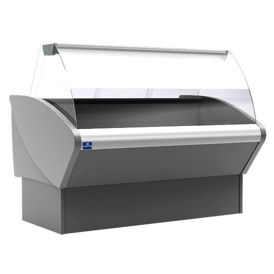 Kühltheke 1480 mm mit gebogener Frontverglasung, statisch, 0°/+7°C - RAL9006