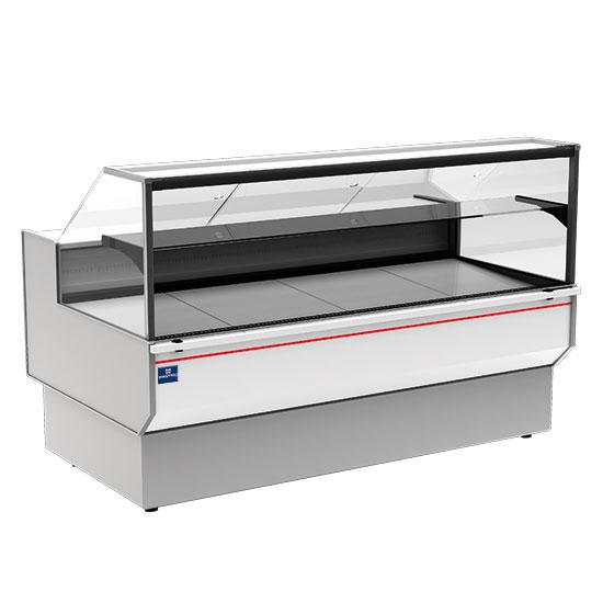 Kühltheke 1480 mm mit gerader Frontverglasung, statisch, 0°/+7°C - RAL9006