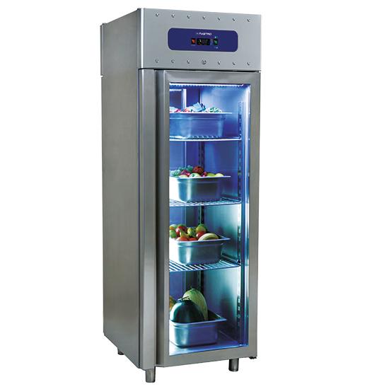 congelatore da 700 litri in inox con porta in vetro, GN 2/1, -10°/-22°C