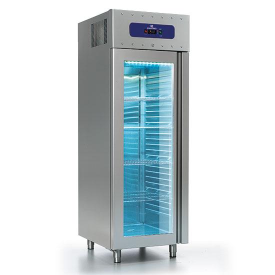 Tiefkühlschrank 700 Liter aus Edelstahl mit Glastür, GN 2/1, -10°/-22°C, 85 mm Isolierung