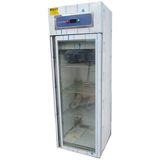 Tiefkühlschrank 400 Liter aus Edelstahl mit Glastür, 46x48,5 cm, -10°/-18°C - BESCHÄDIGT