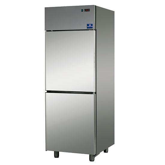 congelatore da 600 litri in inox a 2 porte, -18°/-22°C