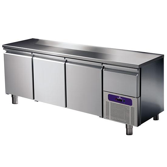 mesa refrigerada 3 puertas GN 1/1 con cajonera refrigerada, -2°/+8°C