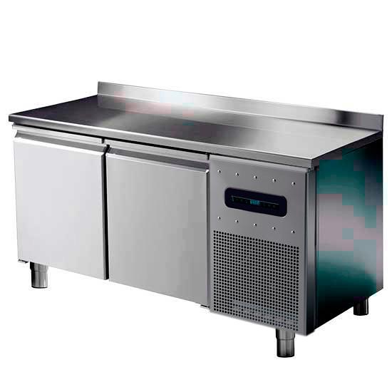 Bäckereikühltisch 2 türig 600x400 mm mit Edelstahlarbeitsplatte und Aufkantung, -2°/+8°C