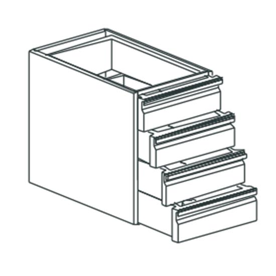Schubladeneinheit, mit 4 Laden, H=100 mm, 400x700 mm