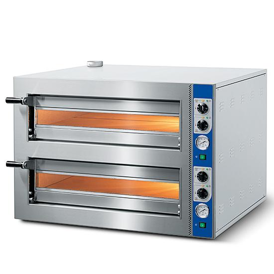 Elektro-Pizzaofen für 4+4 Pizzen ø 350 mm, mechanische Bedienung