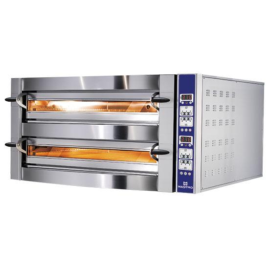 Elektro-Pizzaofen für 4+4 Pizzen ø 35 cm, digitale Bedienung