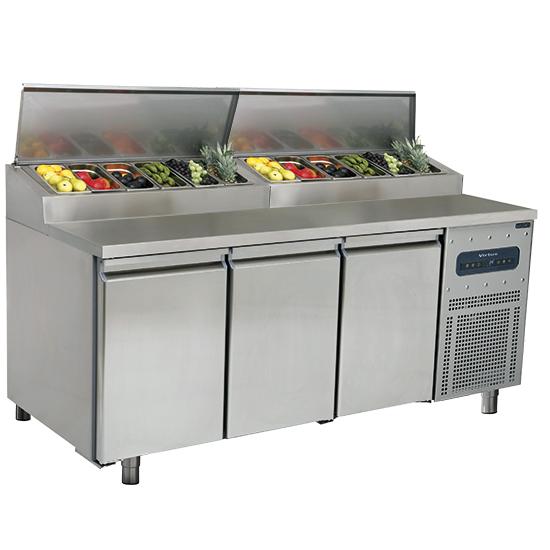 Kühl-Vorbereitungstisch mit 3 Türen 600x400 mm, T=800 mm, 10x GN 1/3 H=150 mm