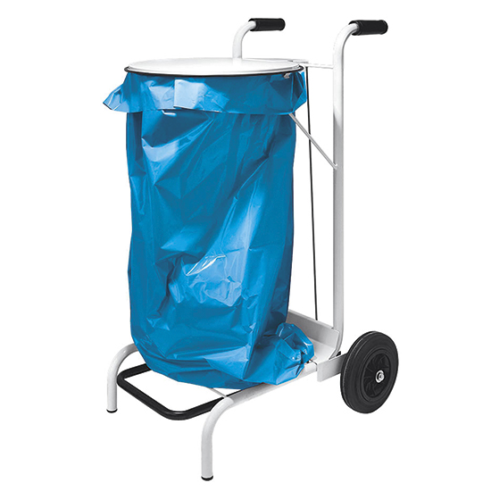 waste bag holder on castors with lid, foot operated