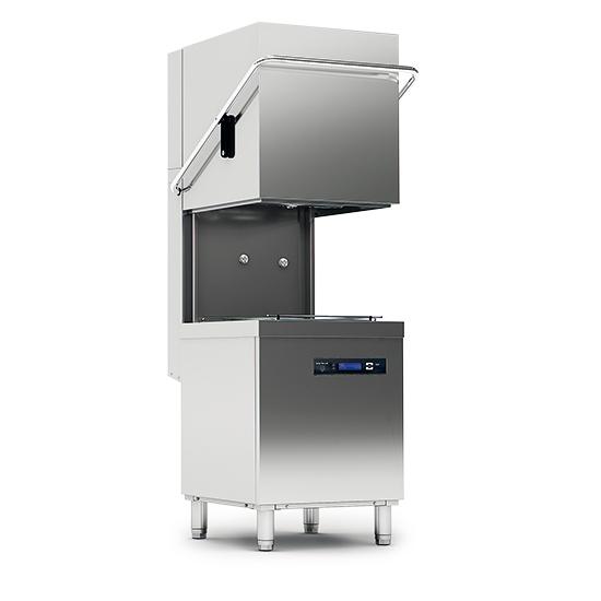 lavastoviglie a capot digitale con pompa di scarico, cesto da 50x50 cm, max h=44 cm