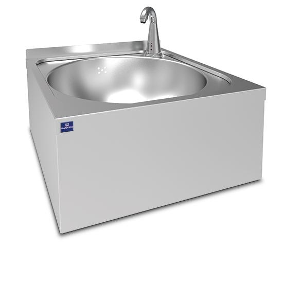 Handwaschbecken Ø 390 mm für Wandmontage mit elektronischer Armatur