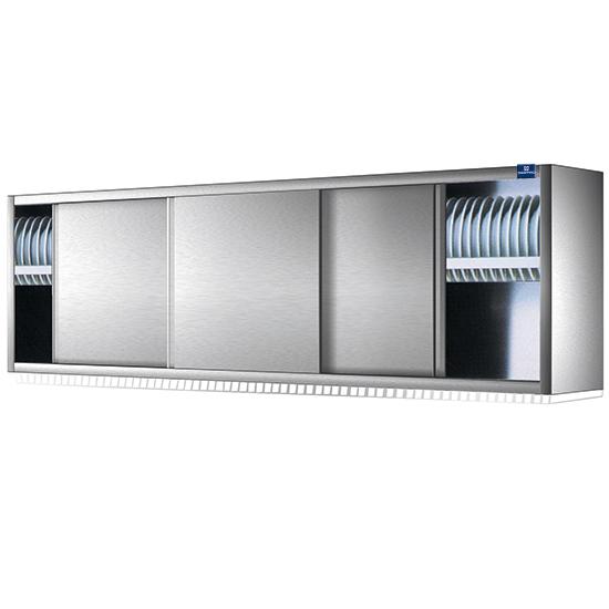 Wandhängeschrank mit Schiebetüren und Tellerbord, 1600x400 mm