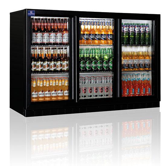 Barkühlschrank mit 3 Glasschiebetüren, 312 Liter, +1°/+10°C