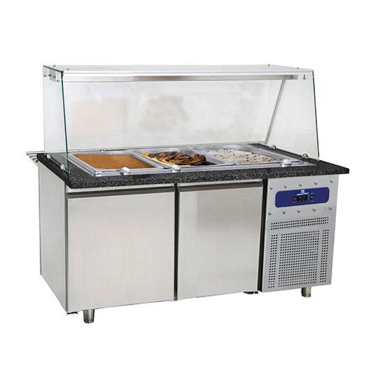 table de préparation chauffée avec 2 portes et structure en verre, 4x GN 1/1 h=100 mm