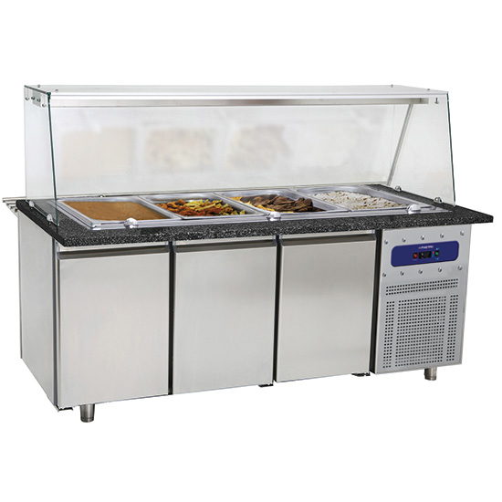table de préparation chauffée avec 3 portes et structure en verre, 5x GN 1/1 h=100 mm
