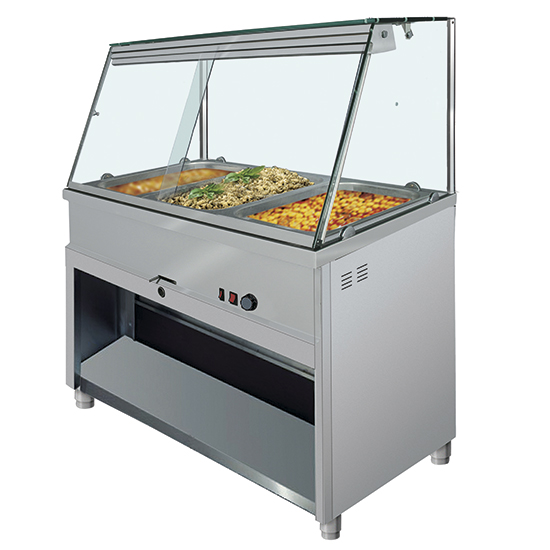 Bain marie counter 4x GN 1/1 with vertical front glass, +30°/+90°C