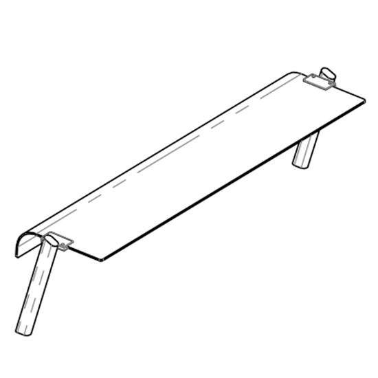 Ausgabeaufsatz mit abgerundeter Scheibe, 1 Ebene, B=2000 mm