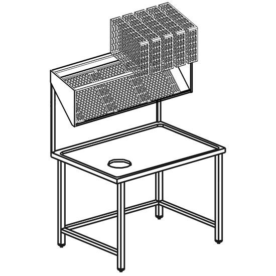 Geschirrsortiertisch mit Korbträgerwandregale, B=1100 mm