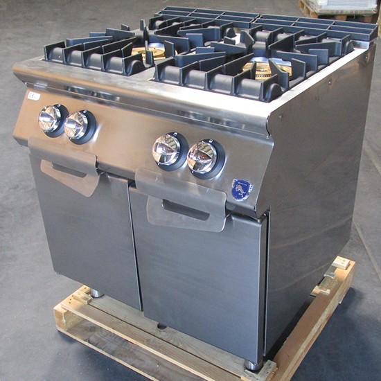 Gas range with 2 burners each 16 kW on cabinet with doors - SHOW ROOM