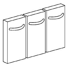 kit 3 portine per basi l=400 e 800mm
