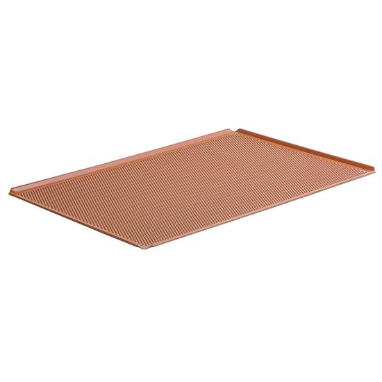 Bandeja de aluminio, GN 1/1 - 4 lados 45°, silicona, perforada
