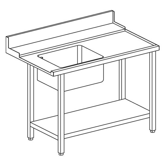 right entry table with sink on the left for hood dishwasher OPT1012/CFN, w=1200 mm