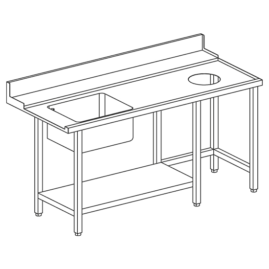 right entry table with sink on the left and wastes hole for OPT1012/CFN, w=1500 mm